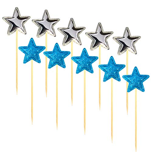 Blingbling Blue Sliver CupCake Topper Cake Star - Cute Themed Party PU Twinkle DIY Glitter Decorative Girl Baby Neutral Kids Adult Elder- Birthday Party Baby Shower Decoration packaged (10 piece)