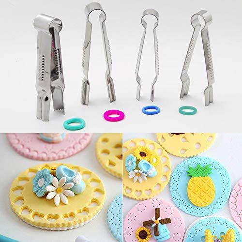 4Pcs Fondant Crimper Tool Set Stainless Steel Cake Edge Lace Clip Clamp Biscuit Cutters Fondant Cake Molds DIY Baking Tools (4Pcs)