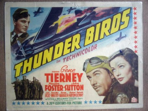 (GR33 Thunder Birds GENE TIERNEY Title Lobby Card. This is a lobby card NOT a video or DVD. Lobby cards were displayed in movie theaters to advertise the film. Lobby cards measure 11 by 14 inches.)