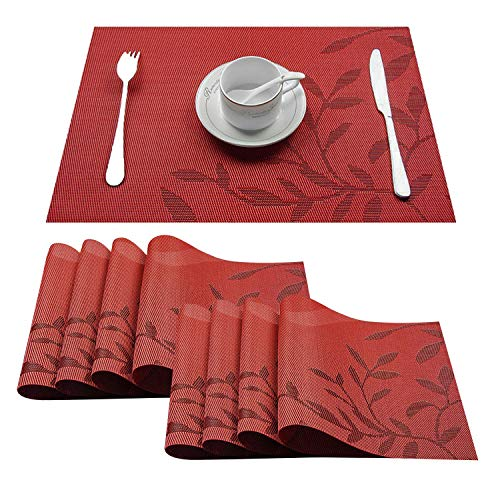 (Top Finel Placemats,Plastic Table Mats Set of 8,Heat Resistant Washable Place Mats for Dinner Table,Red )
