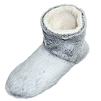 Snookiz Microwave Heated Slippers Short Booties for Women (X-Small, Light Gray)