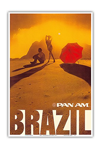 Brazil - Pan American World Airways - Vintage Airline Travel Poster c.1975 - Master Art Print - 13in x 19in ()