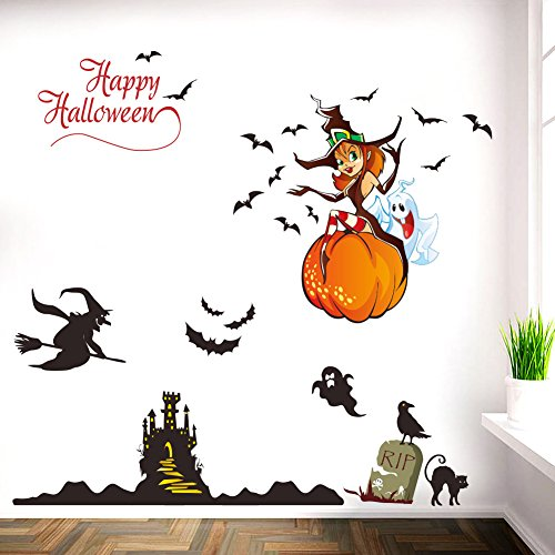 Dragon Honor Wall Sticker Happy Halloween Pumpkins Spooky Cemetery Witch and Bats Tomb Mural Wall Decals Halloween Decorations For Kids Rooms Halloween Party