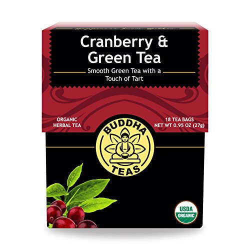 Organic Cranberry and Green Tea - Kosher, Contains Caffeine, GMO-Free - 18 Bleach-Free Tea Bags (Cranberry Organic Tea)