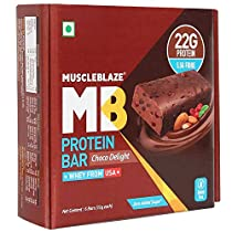 MuscleBlaze Protein Bar 22g Protein 6 PiecesPack Chocolate