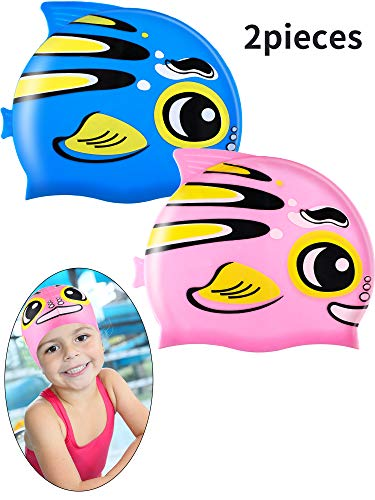 Zhanmai 2 Pieces Kids Swimming Cap Silicone Waterproof Swim Hat with Cute Animal Pattern for Boys and Girls Who Aged 2-8 (Style 4)