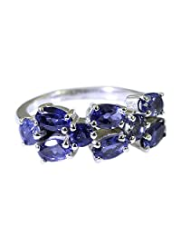 Jewelryonclick Real Iolite Sterling Silver Wedding Ring for Women Cluster Style Size 5,6,7,8,9,10,11,12
