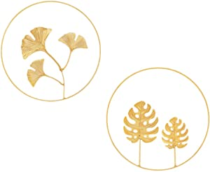 VOSAREA Gold Metal Ginkgo Palm Leaf Wall Decor Round Wall Hanging Ornaments Metal Wall Sculptures for Home Hotel Bar Garden Decoration 2pcs