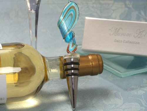 Murano Art Deco Collection Blue And Gold Swirl Design Wine Stopper