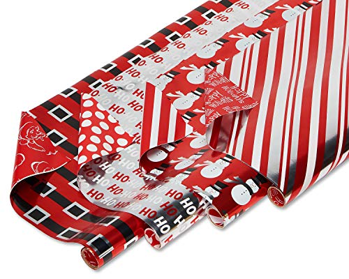American Greetings Foil Reversible Christmas Bulk Gift Wrapping Paper Bundle, 4 Rolls; Red, Black and Silver, Candy Cane Stripes, Snowmen, Ho-Ho-Ho and Santa Belt, 80 Total sq. ft. (Gift Wrap Christmas Stripe)
