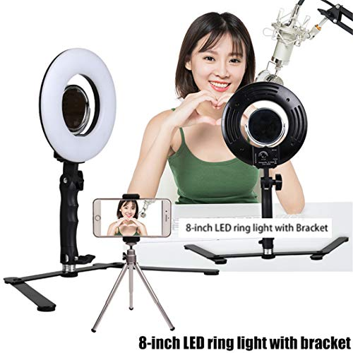 GSKAIWEN 5inch Selfie Ring Light with Cell Phone Holder Stand for Live Stream & Makeup LED Camera Lighting with Flexible Long Arms (Not Include Microphone)