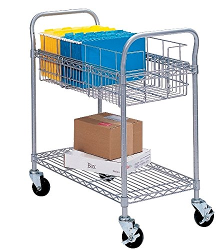 Safco 24''W Wire Mail Cart Dimensions: 26 3/4''W X 18 3/4''D X 38 1/2''H For Library, Media Center, Mail Room, Server Room, Trade Shows & Print Stations by Safco