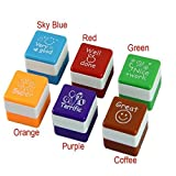 6pc Cute Self Inking Praise Teachers Reward Students Stamps, SUPPION Motivation School Stampers, 6 colors 6 styles