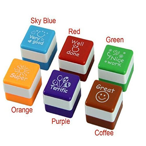 6pc Cute Self Inking Praise Teachers Reward Students Stamps, SUPPION Motivation School Stampers, 6 colors 6 (Wood Stamper)