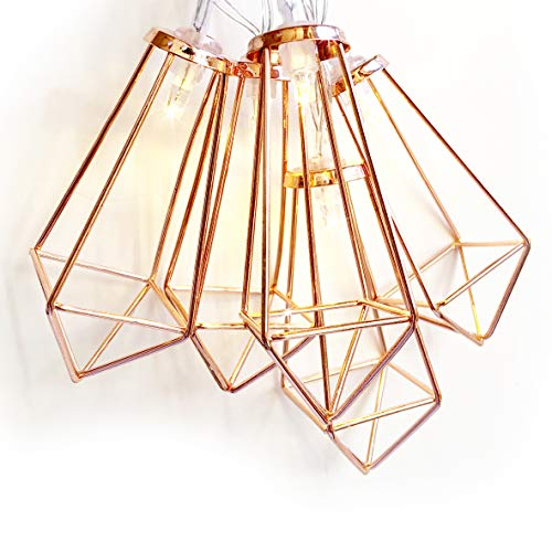 onemodshop | Modern Geometric String Lights, Rose Gold Metal 5FT Battery Powered | for Your Home Décor, Party, Wedding or Baby Shower | Soft White 10 LED