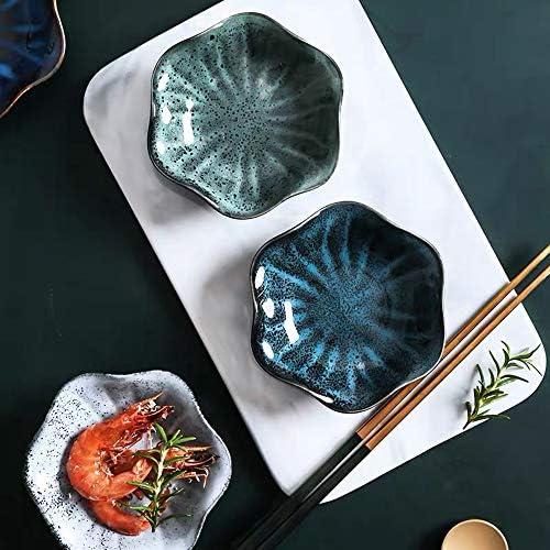 Cabilock Lot de 2 assiettes /à sushis en forme de fleur en porcelaine Bleu