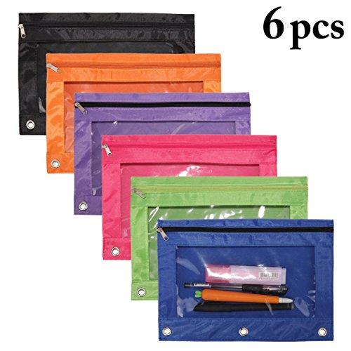 Binder Pencil Pouches,Outgeek 3 Ring Pen Bag Zipper Pulls Mesh Pencil Case with Zipper Zip Pouch Holder Stationery Bag Creative Oxford Organizer Bag Makeup Pouch Pencil with Rivet Enforced Hole for Sc