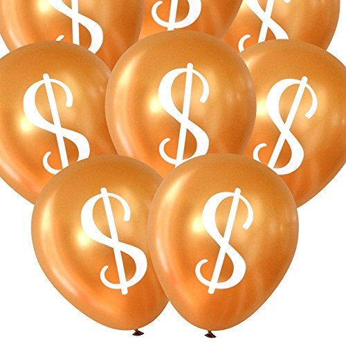 Dollar Sign ($) Balloons - Gold, 16 pcs by Nerdy Words