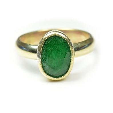 55Carat 4.5 CT Natural Gemstone Emerald Panchdhatu Alloy Ring For Men & Women fkjevTZg
