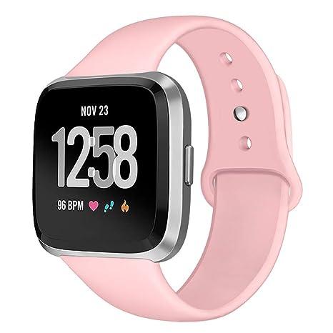 Kmasic Bracelet de Sport Compatible avec Fitbit Versa, Bracelet de Rechange en Silicone Souple pour Montre connectée Fitbit Versa Rose Taille L: Amazon.fr: ...