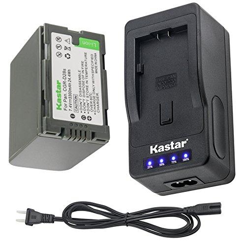 Kastar LED Super Fast Charger & Camcorder Battery x1 for Panasonic CGR-D28 D28S D08 D08S CGR-D16 D16S CGR-D210 CGR-D220 CGR-D320 & Panasonic AG Series, AJ-PCS060G, DZ-MX5000, NV Series, PV Series