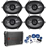 4) Kicker 43CSC684 CS68 6x8'' 450w Car Audio Speakers+4-Channel Amplifier+Amp Kit
