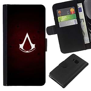 """A-type (Asesinos sesión"""") Colorida Impresión Funda Cuero Monedero Caja Bolsa Cubierta Caja Piel Card Slots Para HTC One M9"""