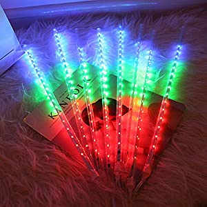 Meteor Lights Plug in 192 LED Falling Snowfall Lights Meteors Shower Rain Lights 30cm 8Tubes Cascading Light for Wedding…