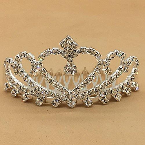 Wedding Party Children Flower Girl Crystal Rhinestones Heart Shaped Crown Headband Tiara