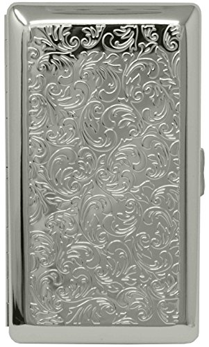 Silver Victorian Print (Full Pack 120s) Metal-Plated Cigarette Case & Stash Box