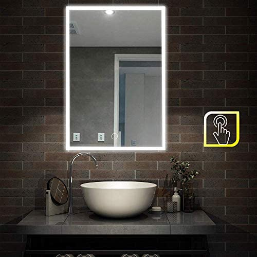 FeelGlad Dimmable Led Lighted Bathroom Mirror with Touch Switch, 3 Colors Changing Best for Bathroom 32 x 24
