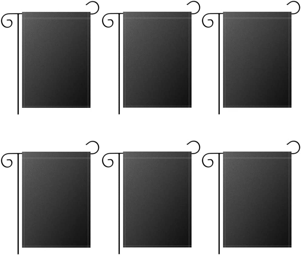 """GoShell Blank Black Garden Flag, Two Layer Double Sided Polyester Heat Transfer Printed, Outdoor Garden Parade Banner Decor Flags Flags, 12""""x 18"""" (6, Black)"""