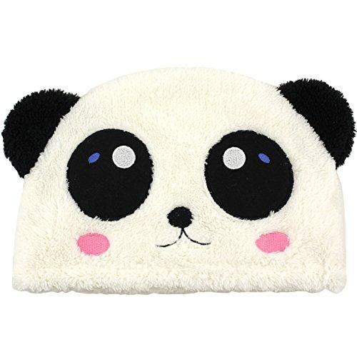 Panda Fuzzy Furry Cute Plush Animal Ski Hat Beanie Headwear - Blushing Bear (How To Wear A Santa Hat)