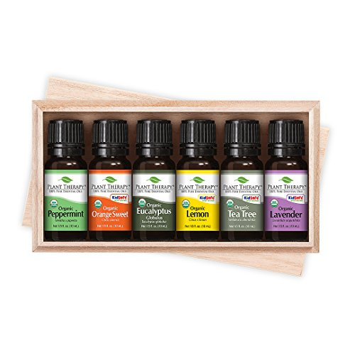 Plant Therapy Top 6 USDA Certified Organic Essential Oils Set. Includes: Eucalyptus, Lavender, Orange, Peppermint, Lemon and Tea Tree. 10mL (1/3 Ounce) each. 51mTlAKdNKL