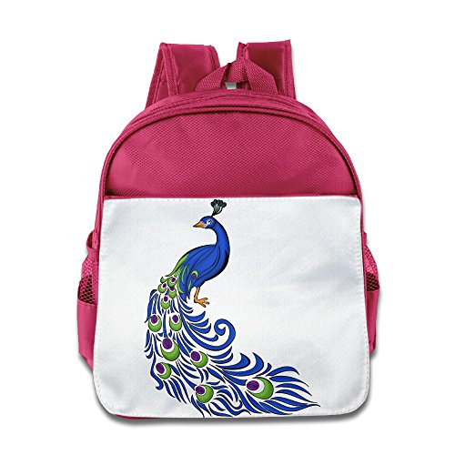 XJBD Custom Personalized Colorful Peacock Teenager Schoolbag For 1-6 Years Old Pink