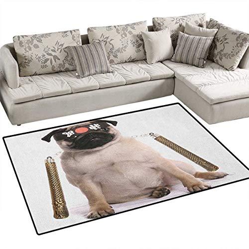 Pug,Floor Mat,Ninja Puppy with Nunchuk Karate Dog Eastern Warrior Inspired Costume Pug Image,Small Rug Carpet,Cream Black Gold Size:36