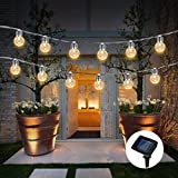Solar Globe Bulb Lights Outdoor,WONFAST Waterproof 3.5M 10 LEDs Warm White Solar Powered Christmas Pineapple Bulbs Fairy Starry String Lights for Garden Patio Wedding Party Valentine's Day Decoration