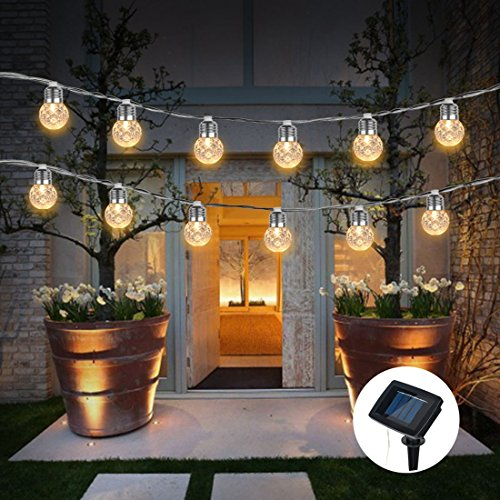 Solar Globe Bulb Lights Outdoor,WONFAST Waterproof 3.5M 10 LEDs Warm White Solar Powered Christmas Pineapple Bulbs Fairy Starry String Lights for Garden Patio Wedding Party Valentine's Day Decoration by WONFAST