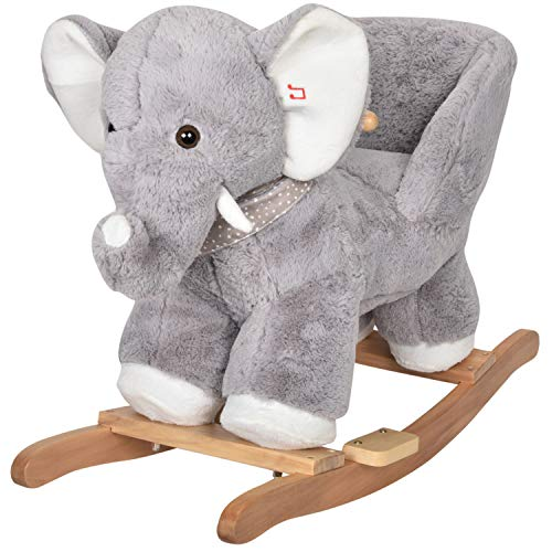 JOON Olli Ride-On Rocking Horse Elephant with Polkadot Scarf, Great for Childhood Development, Soft Materials Wooden Construction, Fun Musical Sounds, for Boys or Girls 1-3 Years Old, Gray-White