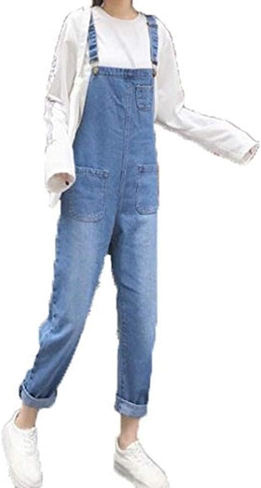 [ウンセン]ファッションレディース デニム パンツ オーバーオール 美脚 ダメージ ジーンズ ゆったり カジュアル