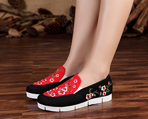 Avacostume Mujeres Peach Blossom Blossom Multicolor Flats Blanco Sole Loafer Zapatos Black