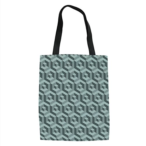 Price comparison product image IPrint Modern, Maze Style Digital Dimension Cube Abstract Futuristic Continuous Lines Artsy Graphic, Slate Blue Printed Women Shoulder Linen Tote Shopping Bag