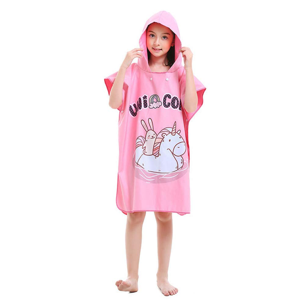Kids Hooded Beach Bath Towel Kids Changing Robe Towel Child Kids Pink Poncho Towel for Beach Swimming Bath Hooded Towel Microfiber Bathrobe Fast Drying Cape Towel for Girls, Boys for Surf Swimming Div