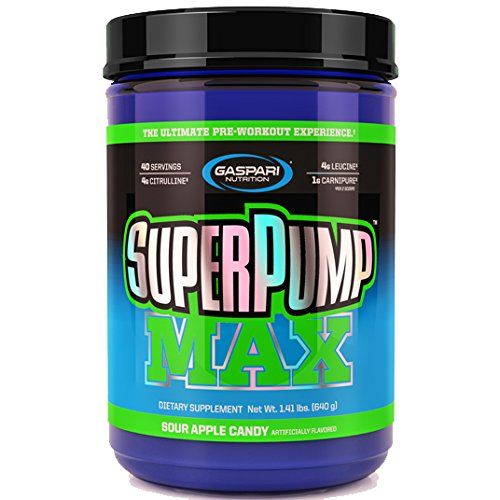 Gaspari Nutrition SUPER PUMP MAX, Ultimate Pre-Workout Supplement Pack of Two 40 Servings, 1.41lbs (Pack of 1, Sour Apple Candy)