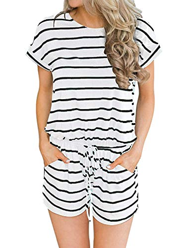 - Hount Womens Summer Casual Short Sleeve O Neck Adjustable Waist Drawstring Rompers with Pockets (White, X-Large)
