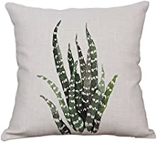 Green Plant Decorative Throw Pillow Covers Cotton Linen Square Cushion Cover Outdoor Sofa Home Pillow Covers 16x16 Inch