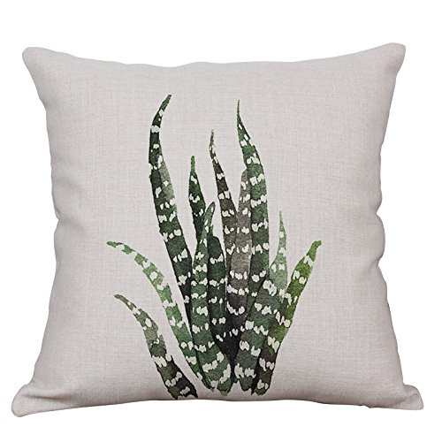 Green Plant Decorative Throw Pillow Covers Cotton Linen Square Cushion Cover Outdoor Sofa Home Pillow Covers 18x18 Inch