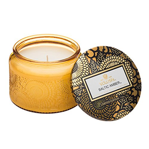 - Voluspa Baltic Amber Small Embossed Glass Jar Candle, 3.2 Ounces