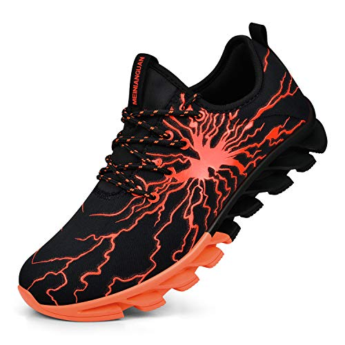 QANSI Mens Workout Shoes Fashion Graffiti Personality Sneakers Lightweight Athletic Running Gym Shoes Black/Orange 10