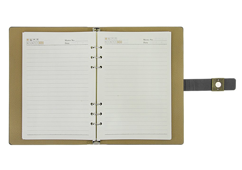 Notebook, A5 Faux Leather Journal, Business Office Notebook with Magnetic Clasp, Loose Leaf Wirebound Notebook with Spiral, Refillable Travel Notepad, College Ruled Paper, 192 Pages, 6.9x9.1 inches by Clobeau (Image #6)